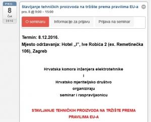 Najava seminara - Stavljanje tehničkih proizvoda na tržište prema pravilima EU-a