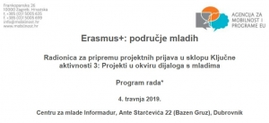 Besplatna radionica pripreme projektnih prijava u sklopu dijaloga s mladima programa Erasmus+
